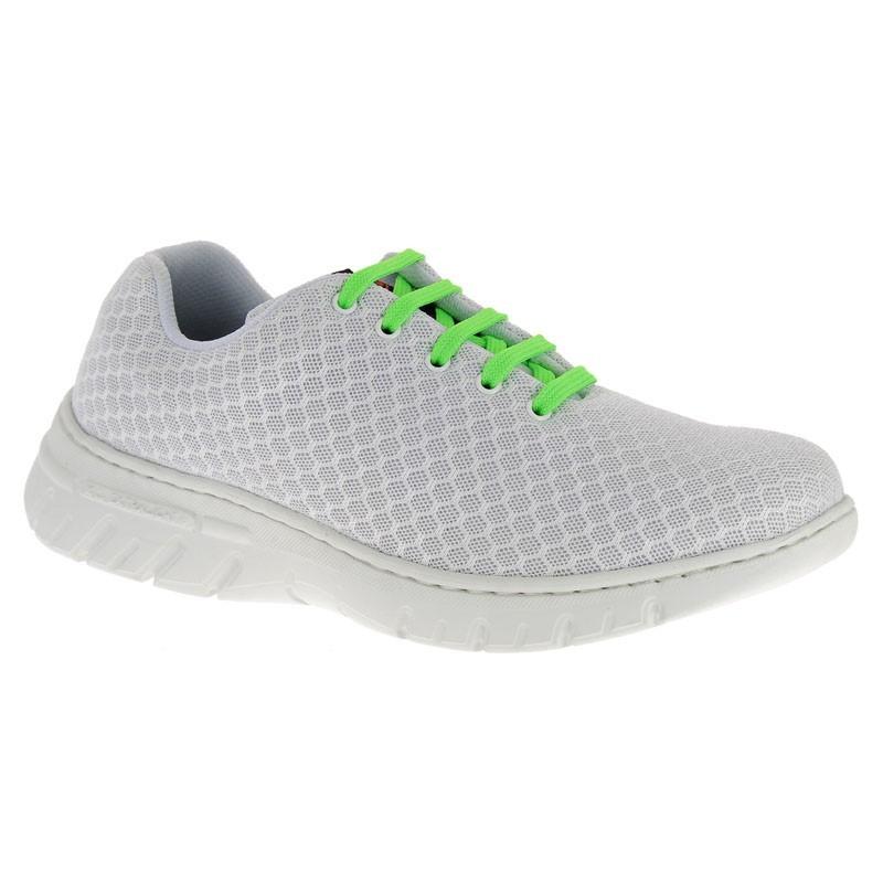 Chaussure de travail DF9902 blanc lacets vert fluo - Calpe