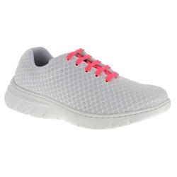Chaussure de travail DF9901 blanc lacets rose fluo - Calpe - Dian
