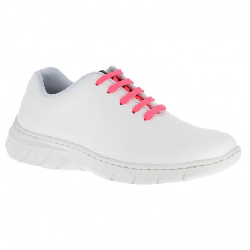 Chaussure de travail DF971 blanc lacets rose fluo - Altéa