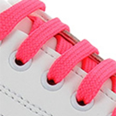 Blanc / Lacets rose fluo